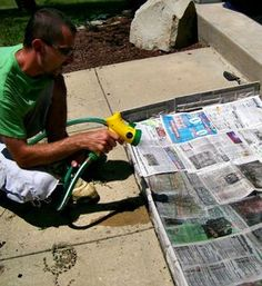 how to stop weeds from growing - pull weeds that are there -- then lay newspaper over the entire area --- when covered wet the newspaper real well-- then put mulch on top of that. Ready to plant and be weed free for a year!