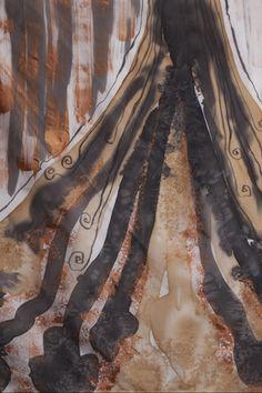 VolcanicBlast hand painted silk fabric by Blugirlart.com prettyness