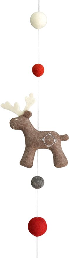 Garland with Santa's Reindeer. 36х8х6,5cm. Felt - 100% wool, metal ring, filler - polyester batting. Hand embroidery, hand gathering. a: light blue; b: lilac; c: grey.