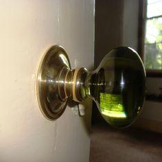 Peridot green door knob by Merlin Glass