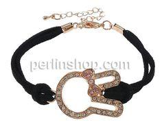 Wollschnur Armband, mit Zinklegierung, mit Verlängerungskettchen von 2Inch, Hase, Rósegold-Farbe plattiert, mit Strass & 2 strängig, schwarz