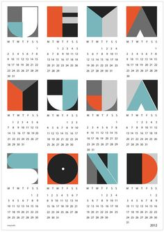 Very cool 2012 calender Wall Calendar Design, Art Calendar, Calendar Ideas, Desk Calender, Graphic Design Posters, Graphic Design Typography, Graphic Design Illustration, Kalender Design, Typography Drawing