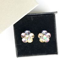 Remarkable flower stud earrings made with Swarovski Crystals violet, tanzanite, vitrail light, peach, golden shadow and 925 silver settings Diamond Earrings, Stud Earrings, Flower Stud, Light Peach, Earrings Handmade, 925 Silver, Swarovski Crystals, Trending Outfits, Unique Jewelry