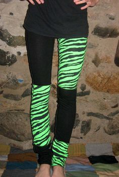 Green Zebra Patchwork Punk Legging/Pants XS/Small By Vicmes Clothing