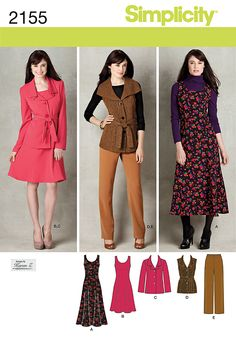 Simplicity 2155 - Misses/Womens Jumper, Pants and Jacket or Vest, and Belt. Simplicity naaimode nr 7