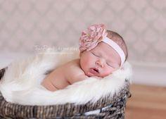 Mauve flower headband newborn infant child by DanicasChicBowtique, $12.00