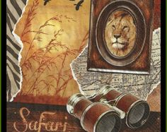 4 Safari Lion Themed Paper Decoupage Napkins - Use For Crafts, Mixed Media, Scrapbooking, Collage And Altered Art Projects