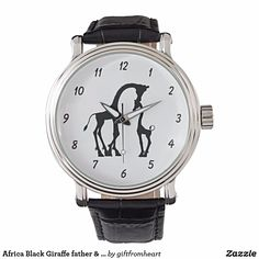 "Africa Black Giraffe father & kid Watch for Men You can change the color and the font of the timing number. and click ""Customize it!"" to create your gift by uploading your own photo/ picture/ design and/or adding texts. Check out https://www.zazzle.com/africa_black_giraffe_father_kid_watch_for_men-256309164652654654?rf=238478323816001889 to get 15% off with code APRILSHOWERS. See more products on collection…"
