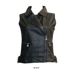 Zip-Up Biker Vest - Black or Scarlet Red at 76% Savings off Retail!