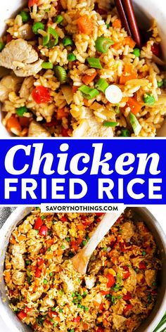 Easy Chicken Fried Rice is a quick and simple dinner you can make any night of the week. This stir fry is ready in just 30 minutes, full of healthy vegetables and kid-friendly, too - you can even make it if you don't have any leftover rice on hand! | #recipes #chicken #chickendinner #healthy #healthyrecipes #easydinner #dinner #dinnerrecipes #chickenfoodrecipes #chickenrecipes #kidfriendly Chicken Fried Rice Recipe Easy, Chicken Lunch Recipes, Veggie Recipes, Healthy Recipes, Easy Family Dinners, Quick Easy Meals, Duck Recipes, Asian Recipes, Healthy Vegetables
