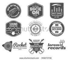 Set of vector music production logo,label, sticker, emblem, print or logotype with elements  guitar for sound recording studio, t-shirt or sound production Podcast and radio badges, typography design