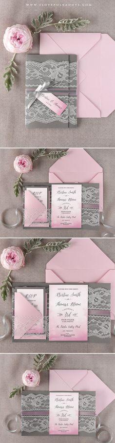 Grey & Pink Ombre Wedding Invitation #ombre #weddingideas #romantic #lace #summerwedding