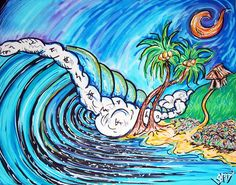 Surf Art canvas 16x20 print Giclee Palmetto State Surfing Style Painting by SaltWaterSurfArt on Etsy https://www.etsy.com/listing/93153713/surf-art-canvas-16x20-print-giclee