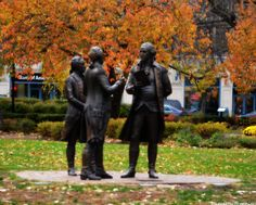 Morristown NJ George Washington, Alexander Hamilton, and the Marquis De Lafayette discussing France's role in the new nation. Morristown Green