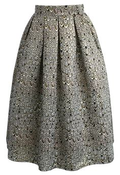 Glamorous Feather Jacquard Midi Skirt - New Arrivals - Retro, Indie and Unique Fashion