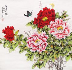 original  painting oriental art chinese l art -peony with butterfly