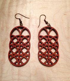 Laser cut earrings in Padauk by CometCraftsAustin on Etsy, $10.00
