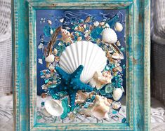 Beach Decor of Seashell Art, Beach Bathroom Decor Wall Hanging, Coastal Wall Art of Shells on Glass, Coastal Decor of Seashell Glass Art Seashell Art, Seashell Crafts, Beach Crafts, Sea Glass Crafts, Sea Glass Art, Clear Glass, Coastal Wall Art, Coastal Decor, Shell Decorations