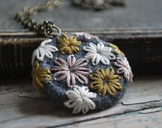 Felt Necklace Hand Embroidered Pendant Pewter Grey Lavender Mustard Yellow
