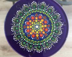 Mandala Dot Art Glass Coaster by Mandaladropsofjoy on Etsy