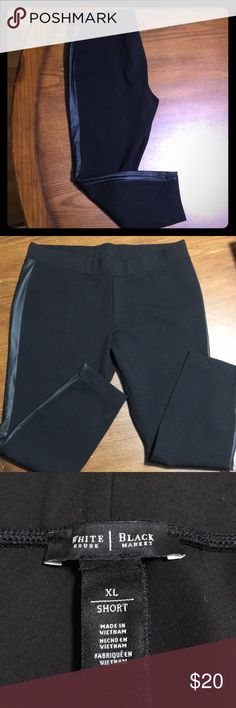 BNWOT White House Black Market Leggings! Super stylish leggings with leather strip down side of the leg. Nice and thick quality material. So many options with these pants! See picture with measurement for inseam, 26 inches.  These XL are equivalent to a size 16. Has some stretch but will not stretch out and look baggy. White House Black Market Pants Leggings