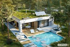 EX 21 soft - projekt domu - Archipelag Flat Roof House, House With Porch, House Layout Plans, House Layouts, Residential Building Plan, Modern Small House Design, Model House Plan, 4 Bedroom House Plans, Mexico House