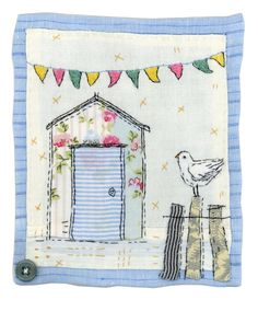 Sharon Blackman: watering can, ballet dancer & beach hut! Sewing Appliques, Applique Patterns, Applique Quilts, Embroidery Applique, Embroidery Stitches, Freehand Machine Embroidery, Free Motion Embroidery, Free Machine Embroidery, Fabric Cards