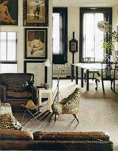 the modern eclectic mix, textures, animal print and palette contrast make a dramatic statement