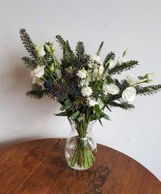 Bouquet du jour | Oursin Fleurs    lisianthus + veronica+ chrysanthème + sapin + viorne