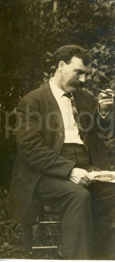 Vintage Photo Mustached Man with Cigar Bar by foundphotogallery