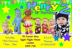Personalised Iggle Piggle Upsy Daisy Boys Birthday Party Invitations