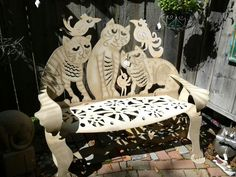 """Cat bench by Don Drumm. Painted Steel, 47""""H x 54""""W x 29""""D. Found a photo of it for $2,800, website says $3,125. Buy here (and more photos):  http://dondrummstudios.com/shop/index.php/don-drumm-cat-bench.html https://adventuresofet.files.wordpress.com/2014/07/cat-bench.jpg   https://adventuresofet.wordpress.com/2014/07/11/day-six-jackson-wy-round-up-and-scenic-drive-back-to-salt-lake-city/"""