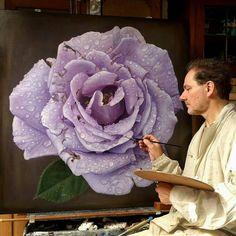 Beautiful purple rose painting, Gioacchino Passini - My site Oil Painting Flowers, Watercolor Paintings, Flower Paintings, Hyper Realistic Paintings, Rose Art, Arte Floral, Purple Roses, Flower Art, Amazing Art