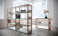 Here is another clever way to organize things - Lap Shelving by Marina Bautier, produced by Case Furniture. Instead of traditional shelves, the system features folded sheet metal components, suppor. Contemporary Furniture, Simple Furniture, Furniture, Bookcase Shelves, Interior, Traditional Shelves, Simple Furniture Design, Bookcase Design, Shelving