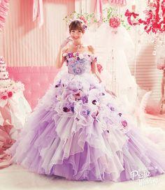 Purple floral-inspired gown by Japanese designer Mariko Shinoda of Love Mary!