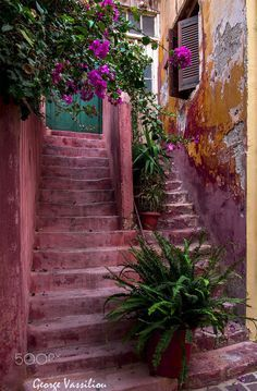 Greece Travel Inspiration - Steps in Hania, Crete, Greece More