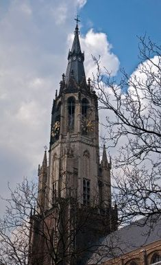 Gothic architecture of the Netherlands. Delft. Stock Photo