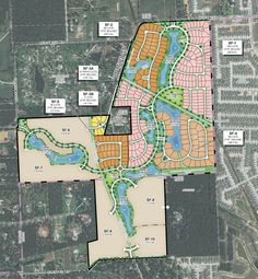 New Residential Development Underway Near The Woodlands - Lakes at Creekside Urban Design Diagram, Urban Design Plan, Site Development Plan Architecture, City Skylines Game, City Layout, Garden Deco, Site Plans, Urban Architecture, Master Plan