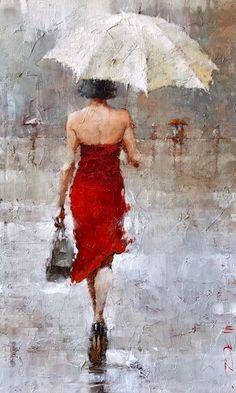 View Original Paintings by Andre Kohn at The Red Piano Art Gallery Umbrella Art, Umbrella Painting, Rain Art, Original Art For Sale, Figure Painting, Figurative Art, Painting Inspiration, Amazing Art, Watercolor Art