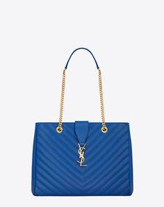 32d650425809 CLASSIC MONOGRAM SAINT LAURENT SHOPPING BAG IN Royal Blue GRAIN DE POUDRE  TEXTURED MATELASSÉ LEATHER