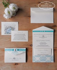 Pastle mint pocket wedding invitation with diamante/pearl embellishment and pearl gems. www.weddingart.co.nz