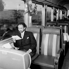 Haile Selassie I of Ethiopia on the train