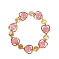 Womens Heart-Shaped Handmade Agate Bracelet NHCT123037