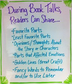 Book Talk Suggestions to get the students engaged in their reading! Present this list in front of the class during literature circles or book discussions. Reading Club, Teaching Reading, Guided Reading, Reading Response, Learning, Teaching Ideas, Shared Reading, Teaching Time, Reading Groups