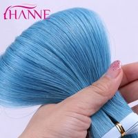 HANNE blue/dark blue color brazilian tape in human hair extensions straight bundle Thick Skin Weft real tape Hair extensions