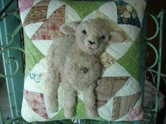 Unique FolkArt Handcrafted Fabric Sculpted Lamb Sheep on Antique Quilt Pillow | eBay
