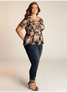 Florence Peplum Plus Size Top in Black/Olive - Separates by IGIGI