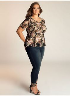 Florence Peplum Plus Size Top in Black/Olive - Separates by IGIGI