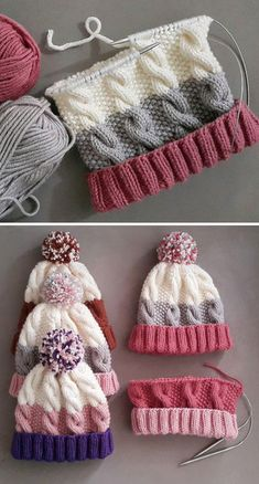 Cozy Cable Knit Hat - Free Pattern - Knitting is as easy as 3 The knitting . Cozy Cable Knit Hat – Free Pattern – Knitting is as easy as 3 Knitting boils down to thre Baby Knitting Patterns, Loom Knitting, Crochet Patterns, Crochet Slipper Pattern, Blanket Patterns, Knitting Machine, Hand Knitting, Knitting Projects, Crochet Projects