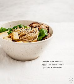 ginger miso noodles with eggplant: mushrooms, eggplant, ginger, garlic, miso paste, veg broth, honey, soy sauce, rice vinegar, rice or udon noodles, seasame seeds, spinach or kale, tofu, scallions